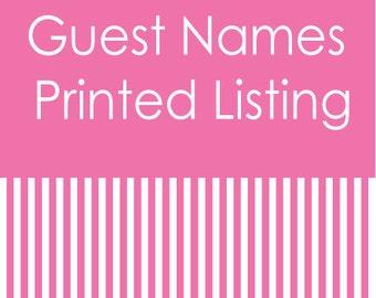 Guest Names Printed