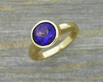Maine Amethyst ring, round faceted gemstone, bezel set, low profile, great for every day wear, silver, yellow or white gold, original design