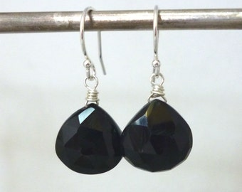 Black Spinel Earrings .. Handmade Jewelry .. Sterling Silver .. Handmade Gift