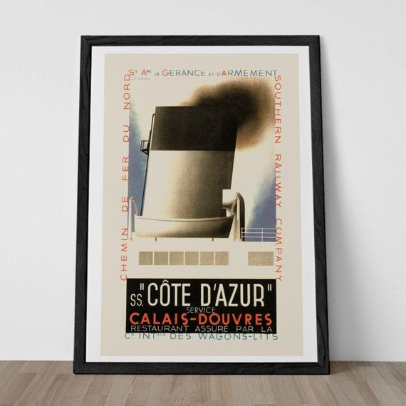 vintage art deco print reproduction cote by encoreprintsociety. Black Bedroom Furniture Sets. Home Design Ideas
