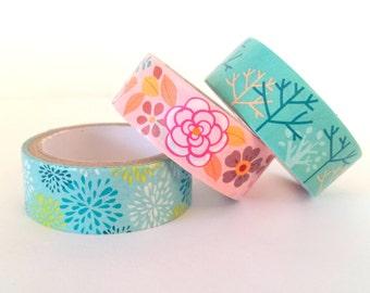 Set of 3 floral masking tapes