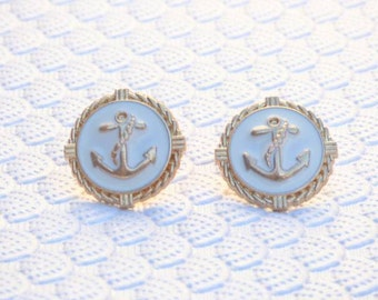 Anchor Earrings- Gold and White Nautical Stud Earrings