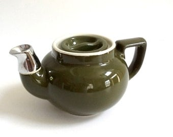 Vintage Hall Teapot with Chrome Spout, Small Olive Green Teapot, Individual Serving, Retro Serving