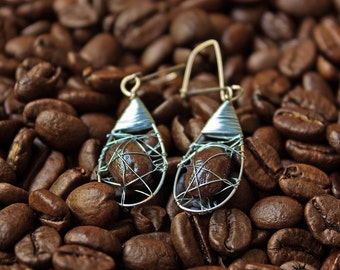 Earrings with coffee beans oval