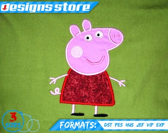 PEPPA pig APPLIQUE EMBROIDERY Design Machine  3 Sizes Best Quality For Girl George Pig ForBoy