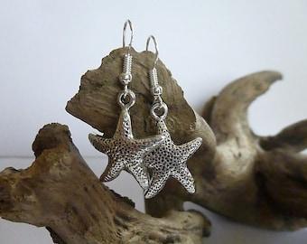 Pretty Antique Silver Starfish earrings, Silver earrings