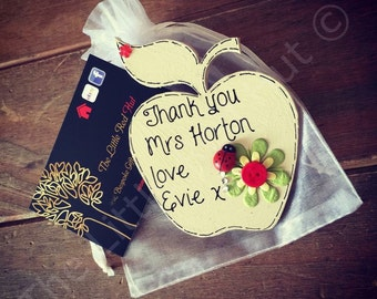 Persaonalised Thank You Teacher Apple Fridge Magnet with Organza Gift Bag