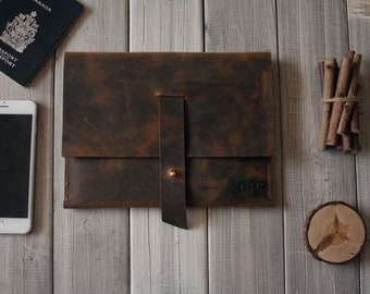 Hand stitched Macbook Case Bag, Leather Laptop Sleeve Bags, Custom Top Leather Portfolio Sleeve for Laptops - CPS hand Punched and Stitched