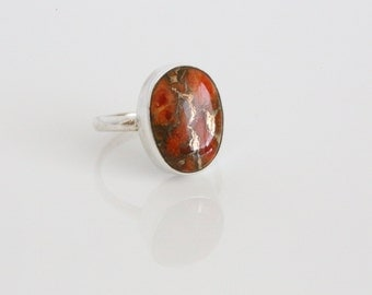 Copper Red Turquoise Ring Oval, Red Turquoise Silver ring, Turquoise Copper 925 Silver ring