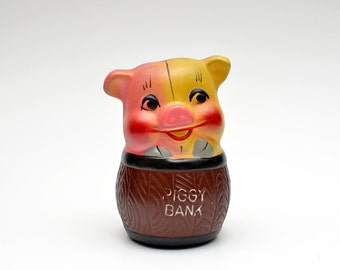 Mid-Century Piggy Bank, Pig in a Barrel made in Japan