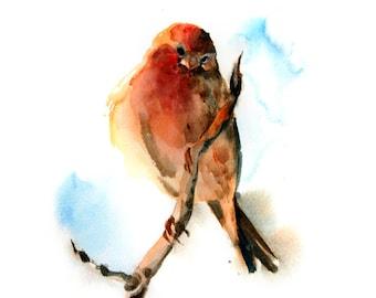 Bird Watercolor Print, Watercolor Painting Art Print, Bird on a Branch, Wall Art