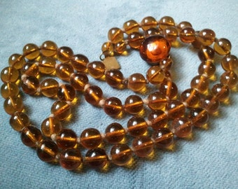 Vintage Amber Glass Beaded Necklace - 1920s 1930s - Art Deco - Double Strand