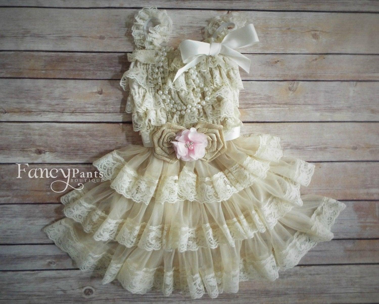 lace rustic flower girl dress beige tan lace by byFancyPants