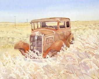 Old Rusty Car In Desert, Antique Car Painting, Original Watercolor
