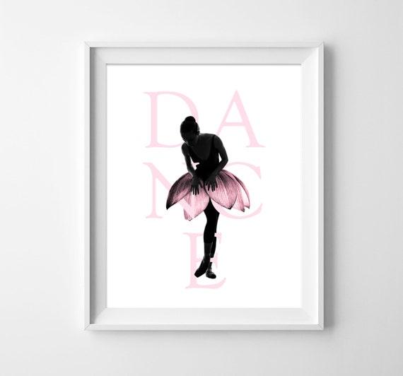 Ballerina wall art ballet poster dance print dancer girls for Ballerina wall mural