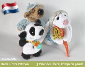 056NLA 3 Vrienden beer konijn en panda - Amigurumi Haak + brei (trui van Beer) Patroon - PDF by Astashova Etsy