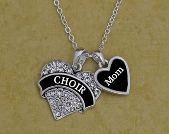 Choir Mom Rhinestone Heart Necklace