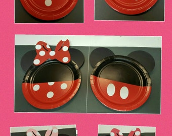 Minnie mouse party plates/ Minnie mouse party plates with polka dot bow/ Mickey  Mouse party plates