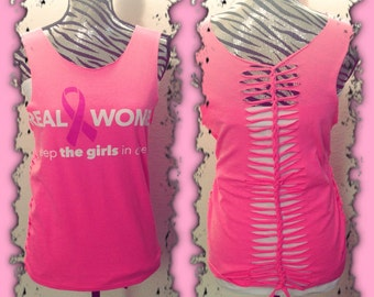 """Breast Cancer Pink Ribbon  """"Real Women Keep the Girls in Check"""" Weaved and Cut tshirt"""