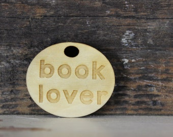 pendant, wood, necklace, keychain, book lover, reading, reader, gift