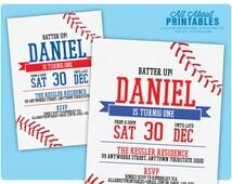 Baseball Birthday Invitation. Baseball Theme Birthday Party Invite, Blue, Red. Any Color. All Star Event. Any Age. DIY Printable Digital