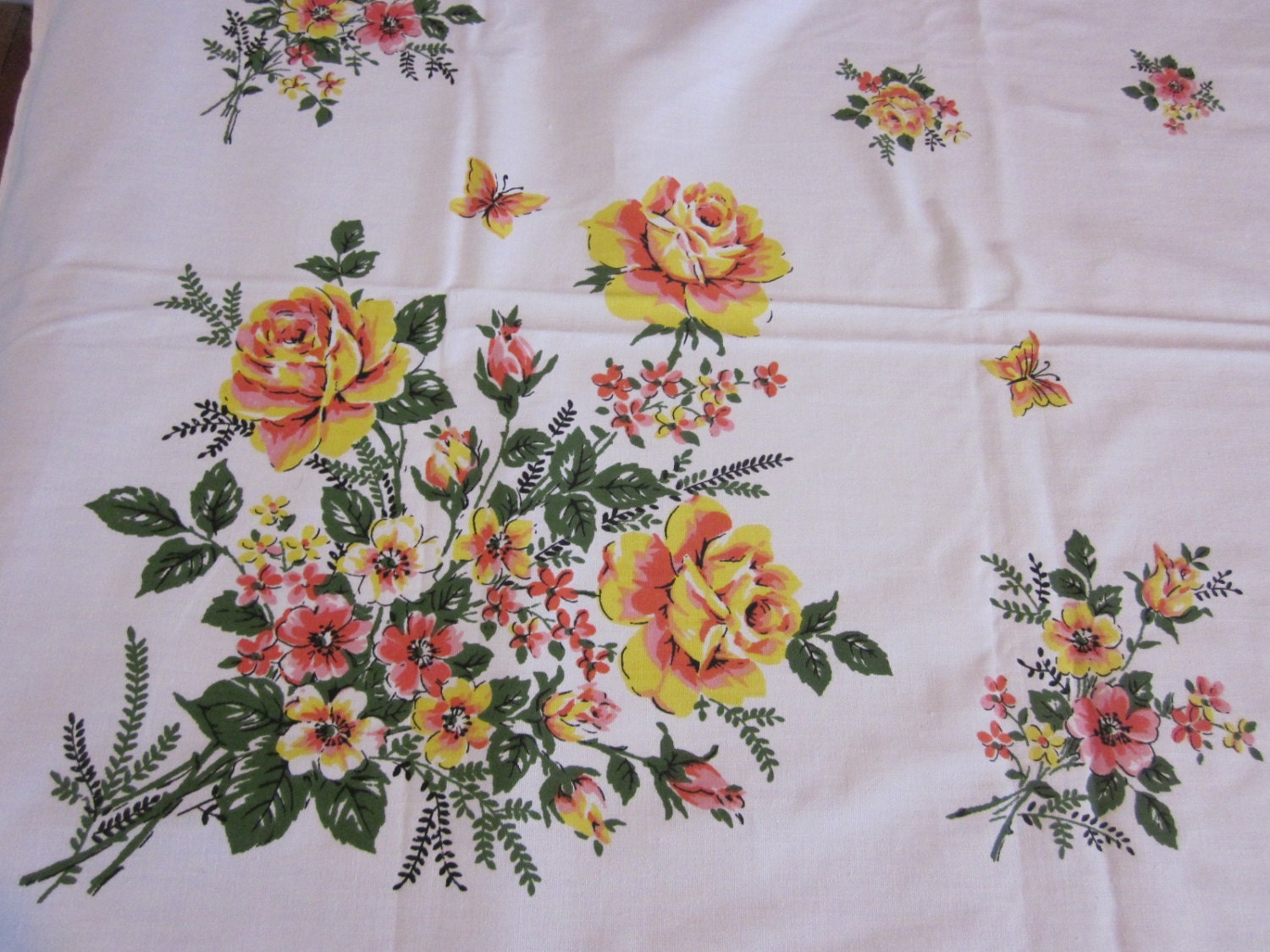 Roses Butterflies Pink Yellow Floral Mwt By