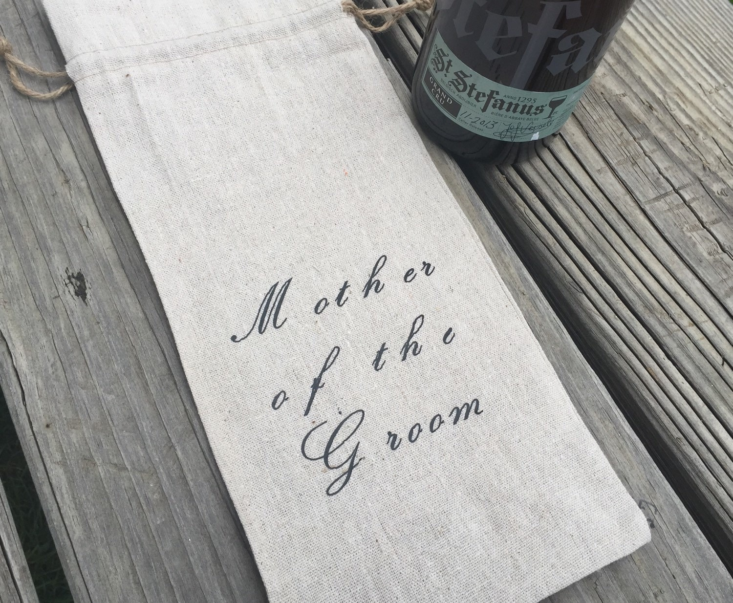 Wedding Gift Bags For Parents : Mother of the groom linen wine bag parents wedding gift wine