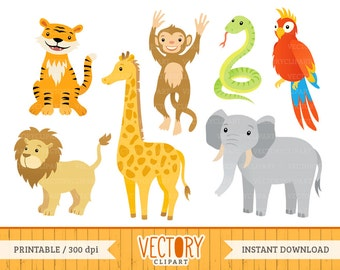 7 Jungle Animal Clipart, Jungle Animals, Animal Clipart (Tiger, Giraffe, Lion, Parrot, Monkey, Elephant & Snake), Jungle Clipart by Vectory