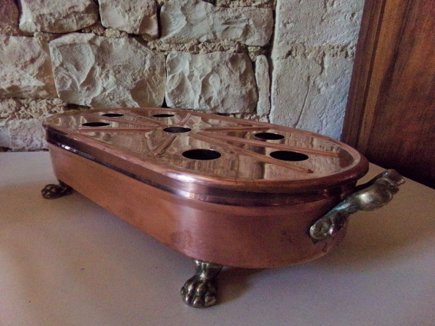 Used Plate Warmer ~ Beautiful large copper and brass french vintage plate warmer