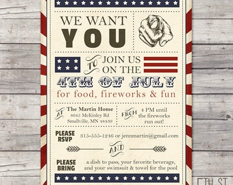 Vintage 4th of July Party Invitation, DIY Printable, Americana, Red, White, Blue, BBQ