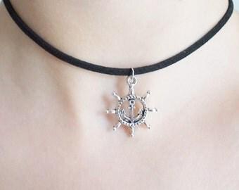 choker handmade jewellery - grunge jewellery - 90s choker - cord necklace - helm and anchor choker - gift for women
