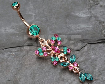Rose Gold Glam Butterfly Fall Fancy Belly Ring