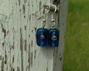Blue Square Glass Skull Earrings