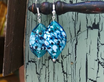 Hand Blown Blue White and Black Speckled Glass Bead Earrings