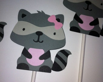 Raccoon cupcake toppers