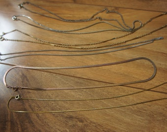 Estate Vintage Jewelry Necklace Set  of 6 Chain   Gold Metal  Silver Metal  X-062