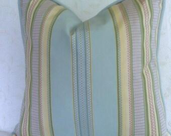 Aqua blue striped pillow cover