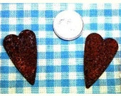 """6 Rusty Tin Primitive Hearts, 1.5"""" tall, natural wood, country crafts, prim art, home decor, wreath making, craft supplies"""
