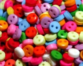 Tiny Buttons, 50 pcs, mixed bright colours, 6mm, craft buttons, scrapbooking, cardmaking, kawaii, mixed buttons, needlework, craft supplies