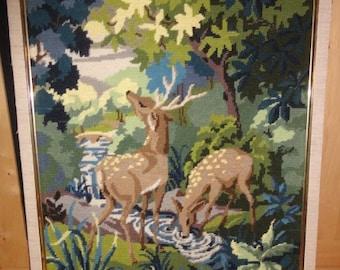 Vintage Deer Needle Point