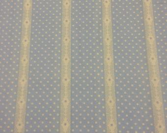 SALE Half Yard Cut Paris Apartment by Bari J for Lecien White Stripes on Baby Blue Background 30348 −70