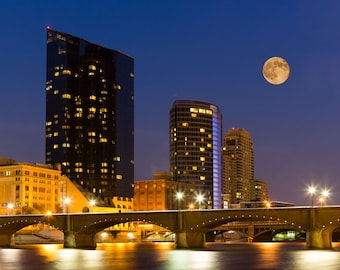 Super Moon over Grand Rapids at Night