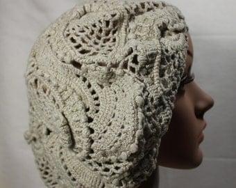 Crochet Linen Beret Slouchy Hat, Ladies Fashion Hat, freeform, boho.