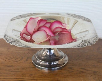 Vintage silverplate pedestal compote/footed bowl Cambridge Plate