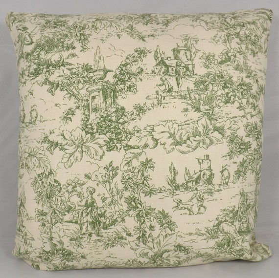 items similar to green toile decorative throw pillow cover. Black Bedroom Furniture Sets. Home Design Ideas