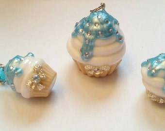 Cupcakeset earring and pendant with silver loop