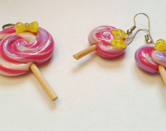 Lollipop set pendant and earrings