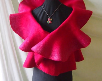 Nuno felt clothing-Felted vest-Wool vest-felted clothing-felted sweater-felt vest-red vinous