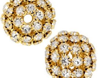 25mm Beadelle Gold Crystal Rhinestone Balls (1 piece)