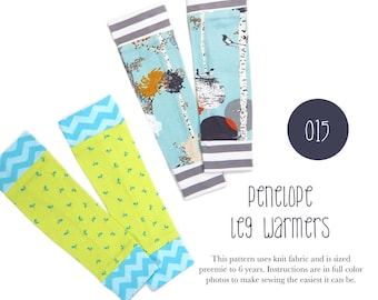 015 Penelope Leg Warmers PDF Sewing Pattern Baby or Kid Toddler Preemie through 6T Sadi & Sam